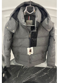 Утеплённая драповая куртка серого цвета