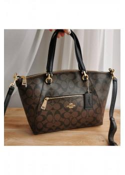 Кожаная коричневая сумка Coach 25x34 см