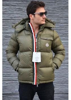 Мужская брендовая куртка зелёного цвета